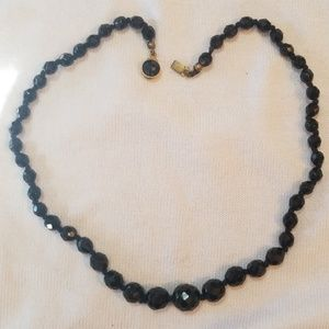 Antique Black Cut Crystal Bead Necklace Austria
